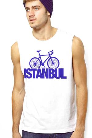 Rock & Roll - İstanbul Bisiklet Beyaz Kesik Kol   Kolsuz Erkek T-shirt   Atlet