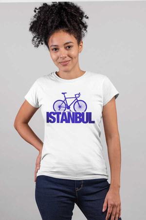 Rock & Roll - İstanbul Bisiklet Beyaz Kısa Kollu Kadın T-shirt