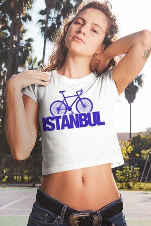 Rock & Roll - İstanbul Bisiklet Kısa, Kesik Crop Top Beyaz Kadın | Bayan Tişört
