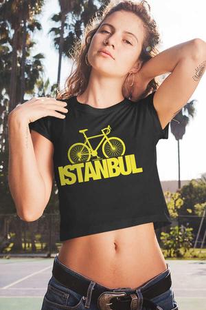 Rock & Roll - İstanbul Bisiklet Kısa, Kesik Crop Top Siyah Kadın | Bayan Tişört