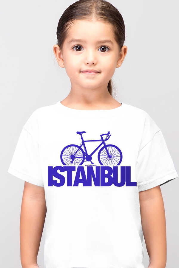 İstanbul Bisiklet Kısa Kollu Beyaz ÇocukT-shirt