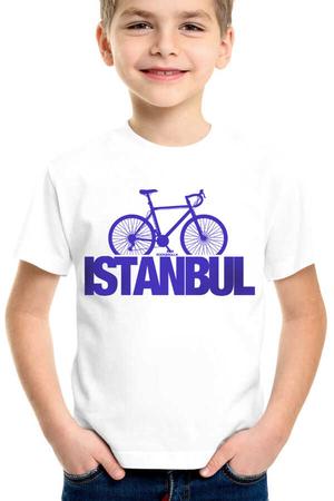 İstanbul Bisiklet Kısa Kollu Beyaz ÇocukT-shirt - Thumbnail