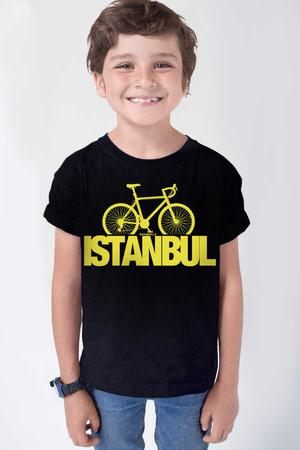 Rock & Roll - İstanbul Bisiklet Kısa Kollu Siyah Çocuk T-shirt
