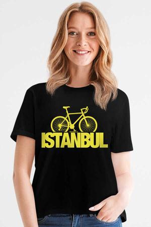 Rock & Roll - İstanbul Bisiklet Siyah Kısa Kollu Kadın T-shirt