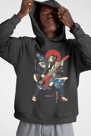 - Japon Bascı Antrasit Kapüşonlu Kalın Erkek Sweatshirt