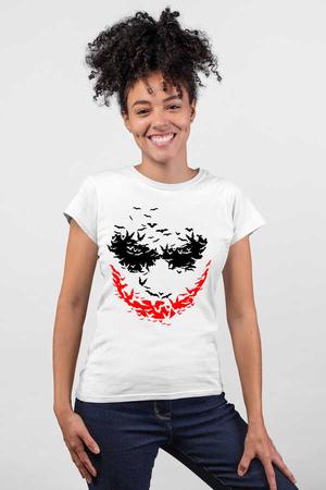 Rock & Roll - Yarasa Gülüşü Beyaz Kısa Kollu Kadın T-shirt