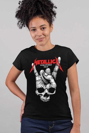 Rock & Roll - Kuru El Siyah Kısa Kollu Kadın T-shirt