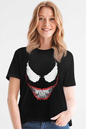 Rock & Roll - Timsah Dişler Siyah Kısa Kollu Kadın T-shirt