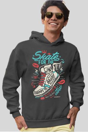 - Kanatlı Ayakkabı Antrasit Kapüşonlu Kalın Erkek Sweatshirt