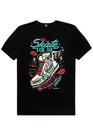 - Kanatlı Ayakkabı Kısa Kollu Siyah Erkek T-shirt