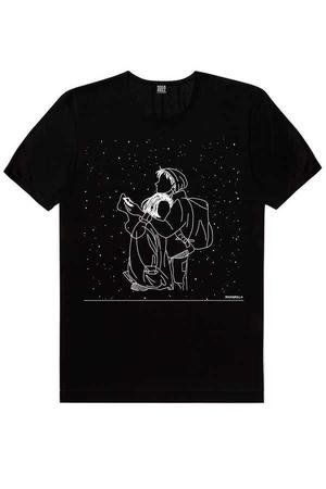 Rock & Roll - Karlar Düşer Siyah Kısa Kollu Erkek T-shirt