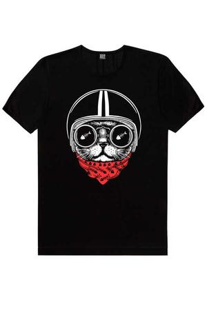 - Kasklı Kedi Kısa Kollu Siyah Erkek T-shirt