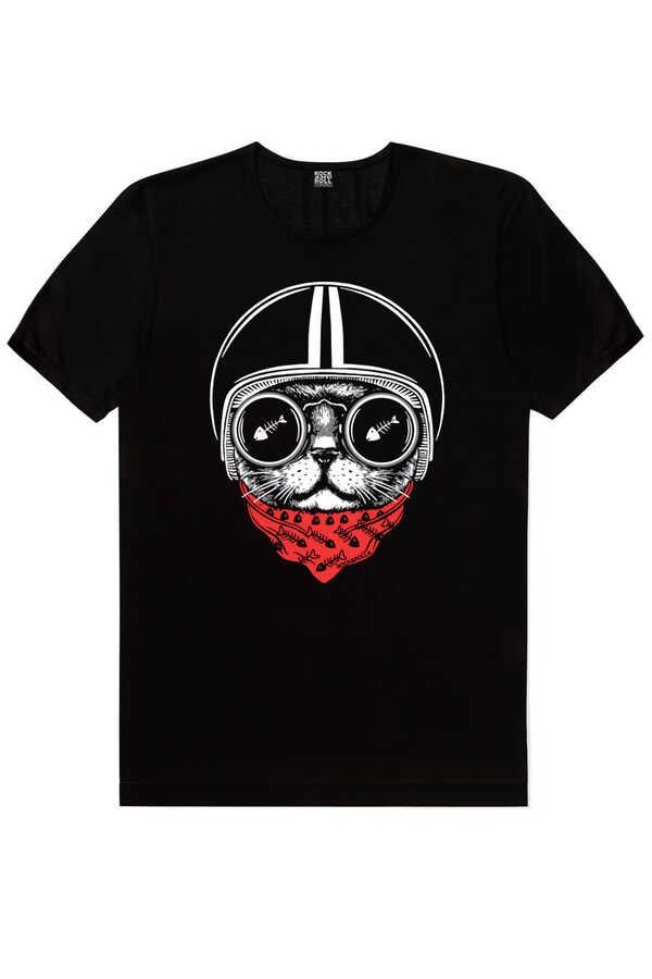 Kasklı Kedi Kısa Kollu Siyah Erkek T-shirt