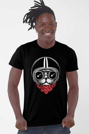 Kasklı Kedi Kısa Kollu Siyah Erkek T-shirt - Thumbnail