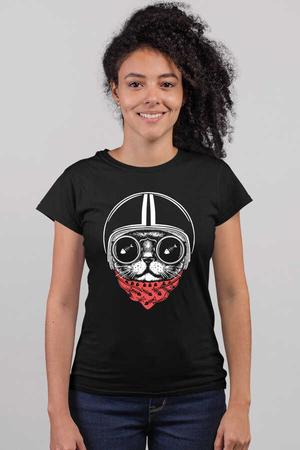 - Kasklı Kedi Kısa Kollu Siyah Kadın T-shirt