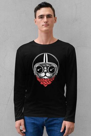 - Kasklı Kedi Siyah Bisiklet Yaka Uzun Kollu Penye Erkek T-shirt