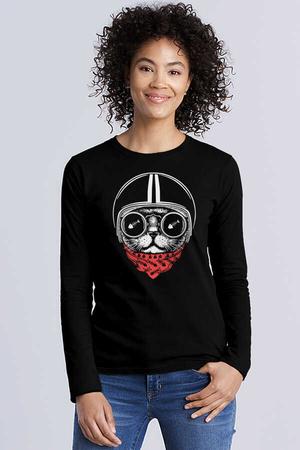 - Kasklı Kedi Siyah Bisiklet Yaka Uzun Kollu Penye Kadın T-shirt