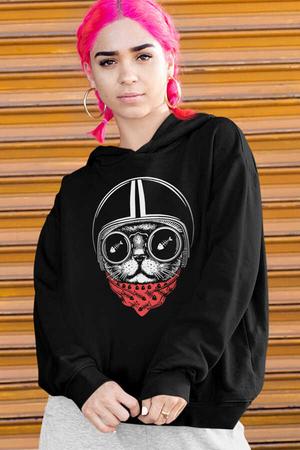 - Kasklı Kedi Siyah Kapüşonlu Kalın Oversize Kadın Sweatshirt