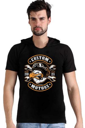 Rock & Roll - Kızgın Kartal Siyah Kapşonlu Kısa Kollu Erkek T-shirt
