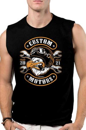 Rock & Roll - Kızgın Kartal Siyah Kesik Kol   Kolsuz Erkek T-shirt   Atlet