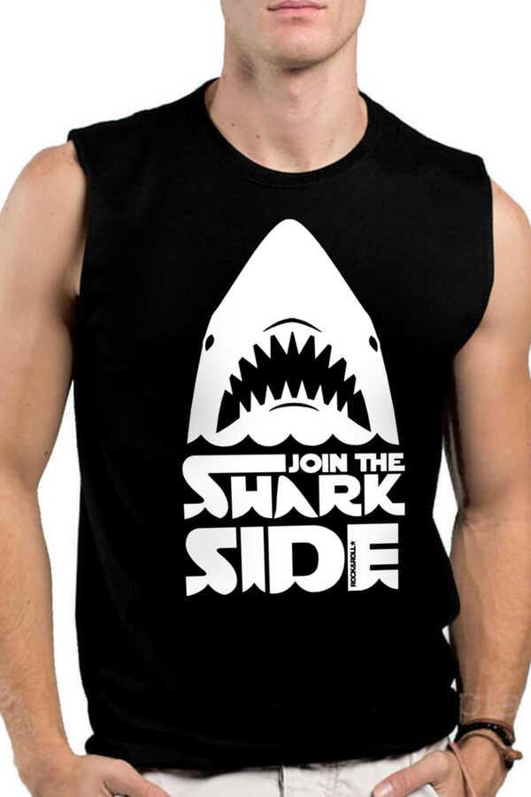 Köpekbalığı Savaşları Siyah Kesik Kol   Kolsuz Erkek T-shirt   Atlet