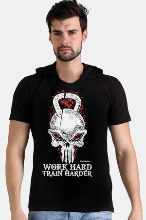 - Kulplu Kafa Siyah Kapşonlu Kısa Kollu Erkek T-shirt