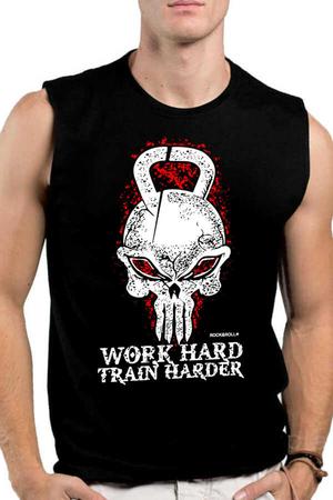Rock & Roll - Kulplu Kafa Siyah Kesik Kol | Kolsuz Erkek T-shirt | Atlet