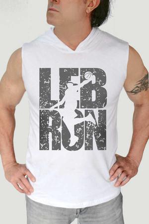 Rock & Roll - Lebron Yazı Beyaz Kapşonlu Kesik Kol | Kolsuz Erkek T-shirt
