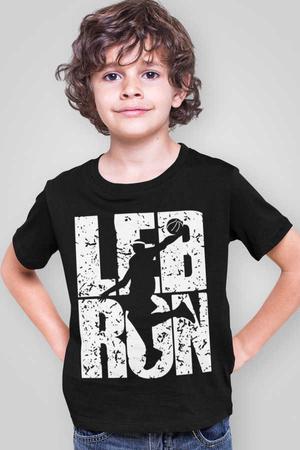 Rock & Roll - Lebron Yazı Kısa Kollu Siyah Çocuk Tişört