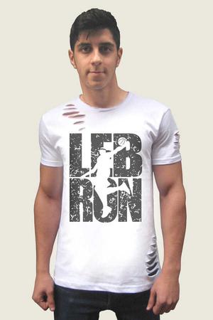 Rock & Roll - Lebron Yazı Kısa Kollu Yırtık Ripped Beyaz T-shirt