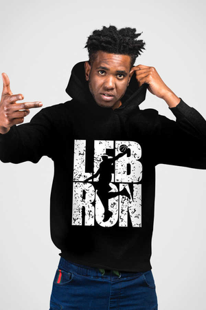 Rock & Roll - Lebron Yazı Siyah Kapşonlu Erkek Sweatshirt