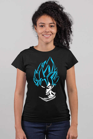 Mavi Saçlı Kahraman Kısa Kollu Siyah Kadın T-shirt - Thumbnail