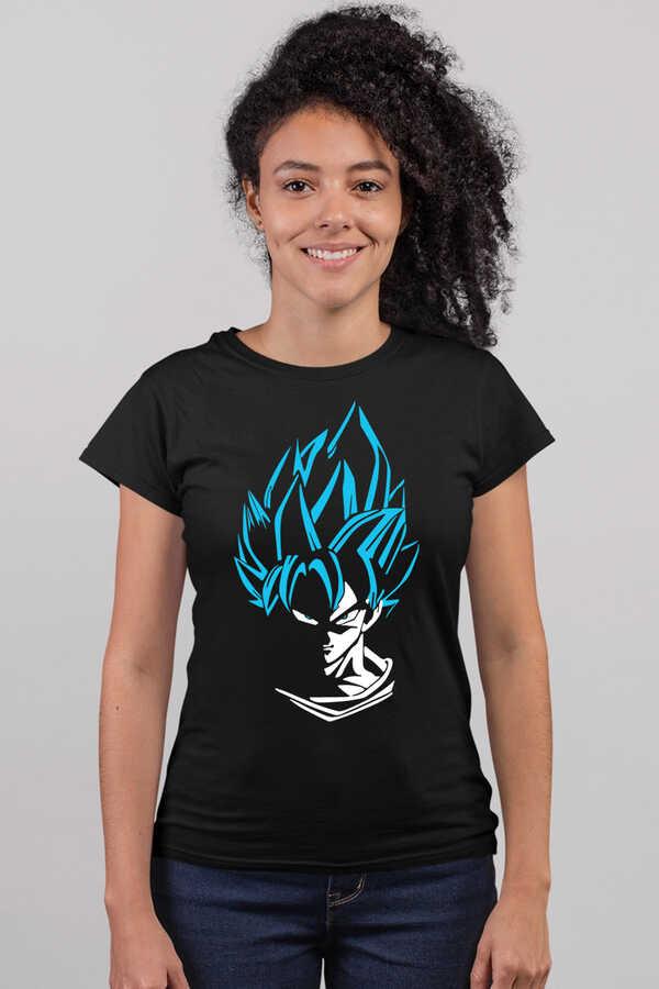 Mavi Saçlı Kahraman Kısa Kollu Siyah Kadın T-shirt