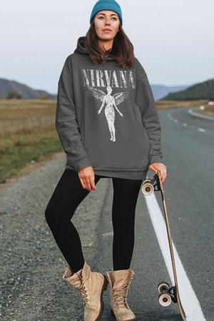 - Melek Nirvana Antrasit Kapüşonlu Kalın Oversize Kadın Sweatshirt