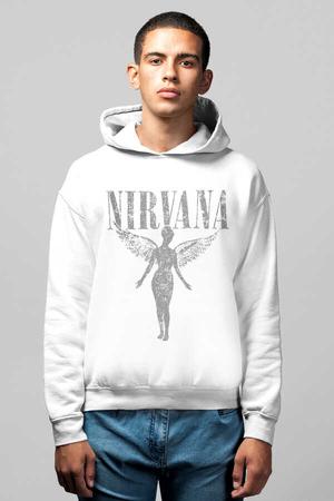 - Melek Nirvana Beyaz Kapüşonlu Erkek Sweatshirt