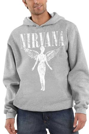 - Melek Nirvana Gri Kapüşonlu Kalın Erkek Sweatshirt
