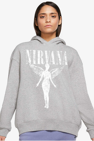 - Melek Nirvana Gri Kapüşonlu Kalın Oversize Kadın Sweatshirt
