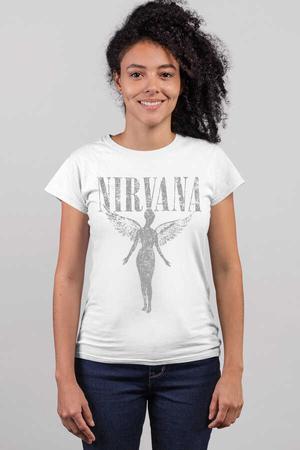 - Melek Nirvana Kısa Kollu Beyaz Kadın T-shirt