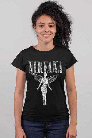 - Melek Nirvana Kısa Kollu Siyah Kadın T-shirt