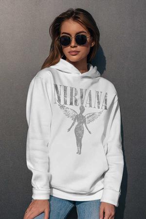 - Melek Nirvana Beyaz Kapüşonlu Kadın Sweatshirt