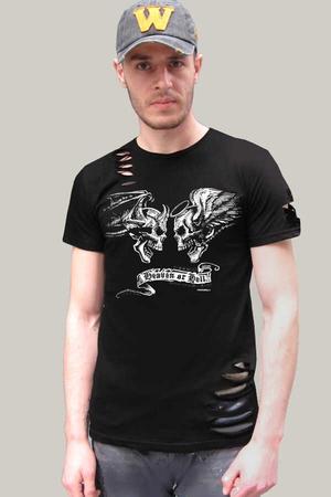 Rock & Roll - Melek Şeytan Kısa Kollu Yırtık Ripped Siyah T-shirt