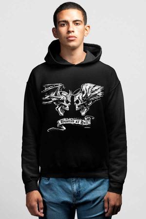 Rock & Roll - Melek Şeytan Siyah Kapşonlu Erkek Sweatshirt