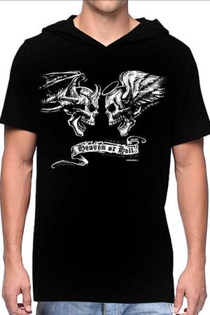 Rock & Roll - Melek Şeytan Siyah Kapşonlu Kısa Kollu Erkek T-shirt