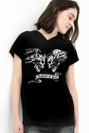 Rock & Roll - Melek Şeytan Siyah Kapşonlu Kısa Kollu Kadın T-shirt