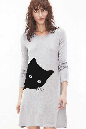 - Meraklı Uzun Kollu Kadın | Bayan Kar Melanj Penye T-shirt Elbise