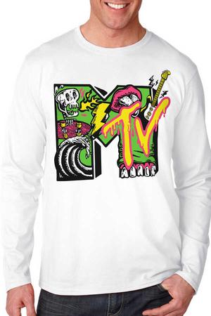 - Meteve Beyaz Bisiklet Yaka Uzun Kollu Penye Erkek T-shirt