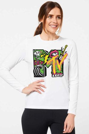 - Meteve Beyaz Bisiklet Yaka Uzun Kollu Penye Kadın T-shirt