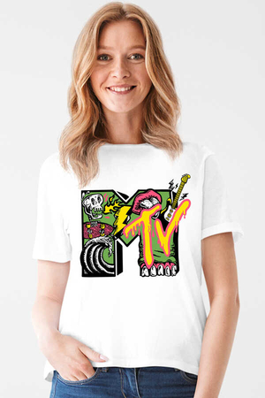 - Meteve Kısa Kollu Beyaz Kadın T-shirt