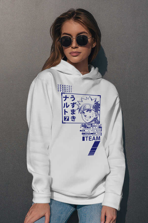 - Naruto Yazılar Beyaz Kapüşonlu Kadın Sweatshirt