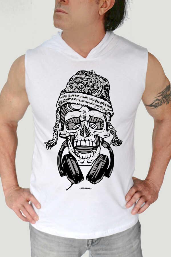 Nepalli Kurukafa Beyaz Kapşonlu Kesik Kol | Kolsuz Erkek T-shirt